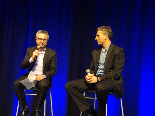 Brandon Hurlbut, left, co-founder of Boundary Stone Partners and former Department of Energy chief of staff, interviews Lyndon Rive, CEO Solar City, about the state of solar and the grid during Co ...