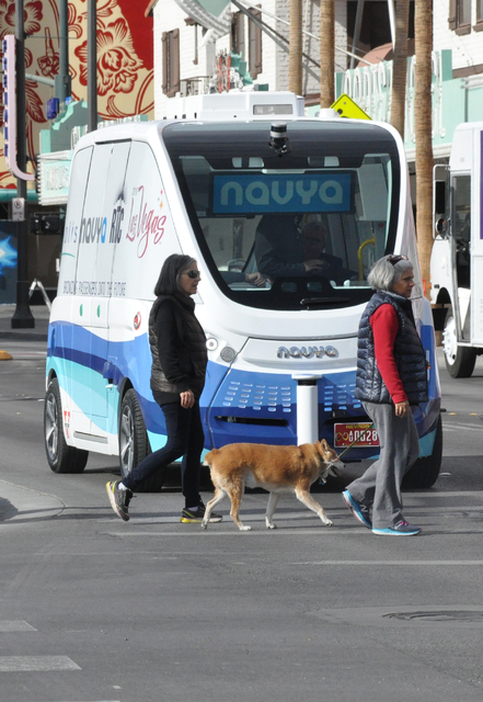 NAVYA demonstrated its driverless shuttle ARMA from CES to Fremont East in the first few weeks of this month. (Buford Davis/ Las Vegas Business Press)