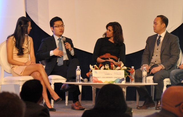 CEO entrepreneurs (from left) Nanxi Liu, Tim Hwang, Andrea Guendelman and Chieh Huang engaged in a panel discussion during the Asian American Business Roundtable at The Venetian, Jan. 13. Photo by ...
