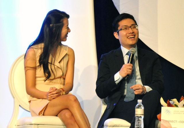 CEO entrepreneurs Nanxi Liu (left) and Tim Hwang engaged in a panel discussion during the Asian American Business Roundtable at The Venetian, Jan. 13. Photo by Buford Davis / Las Vegas Business Press