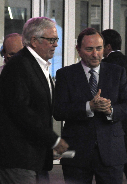 Vegas Golden Knights owner Bill Foley (left) and NHL Commissioner Gary Bettman converse prior to the teams Nov. 22 unveiling ceremony at T-Mobile Arena. Photo by Buford Davis | Business Press
