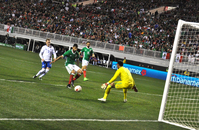Mexico keeper Alfredo Talavera (in yellow) was only forced to make one save in the 1-0 victory over Iceland at Sam Boyd Stadium, Feb. 8. Photo by Buford Davis / Las Vegas Business Press