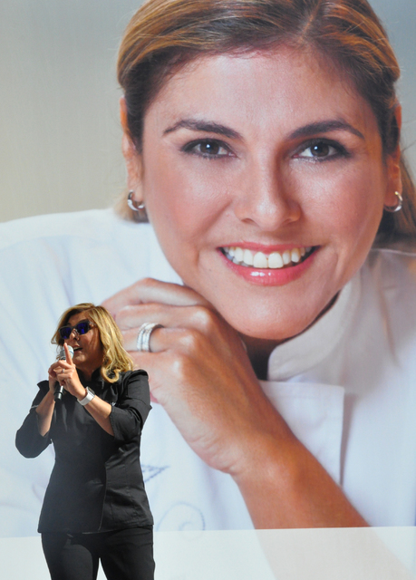 Lorena Garcia speaks in front of her 20-foot-image that was added to the Venetian's Culinary Titans wall Feb. 15, ahead of the spring opening of CHICA, her new restaurant. (Buford Davis /Las Vegas ...