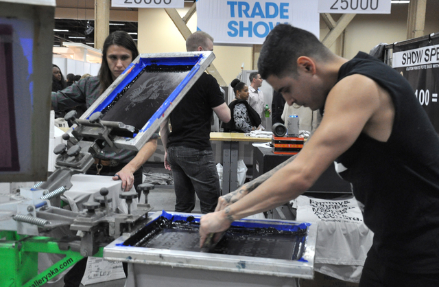 Apparel printing techniques are demonstrated during MAGIC 2017, at the Mandalay Bay and Las Vegas Convention Centers, Feb. 21-23. (Buford Davis/Las Vegas Business Press)