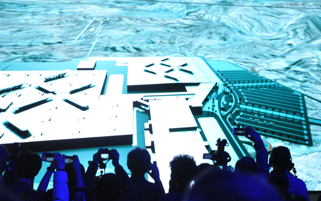 A computer-generated model of Faraday Future's $1 billion North Las Vegas production facility was displayed as part of the unveiling of the FF 91 electric car, Jan. 3, at the World Market Center P ...