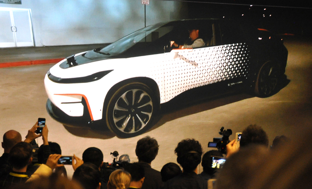 Faraday Future unveiled the FF 91 electric car Jan. 3 at the World Market Center Pavilion during CES. (Buford Davis/Las Vegas Business Press)