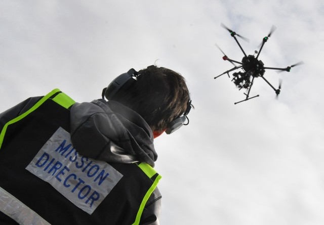 A commercial drone flits through the sky at the Henderson Unmanned Vehicle Range as part of a flight demonstration during the site's groundbreaking ceremony Jan. 4. (Buford Davis/Las Vegas Busines ...