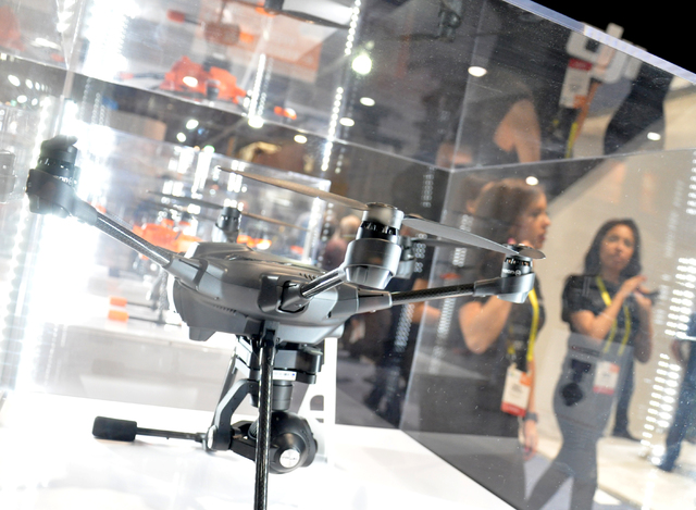 Unmmaned Aerial Systems technology was a highly represented sector at CES 2017, including these models from Shenzhen, China-based DJI, founded in 2006. (Buford Davis/Las Vegas Business Press)