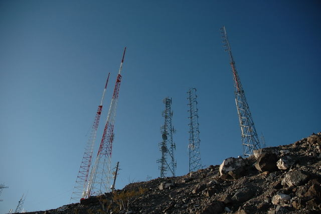 Broadcast transmission towers dot the ridge line on Mount Arden in Henderson.  (Photo credit: Fybush Media)