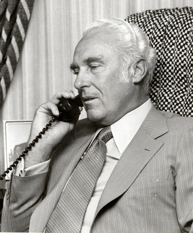 E. Parry Thomas speaks on the telephone in this Review-Journal file photograph dated July 1977.