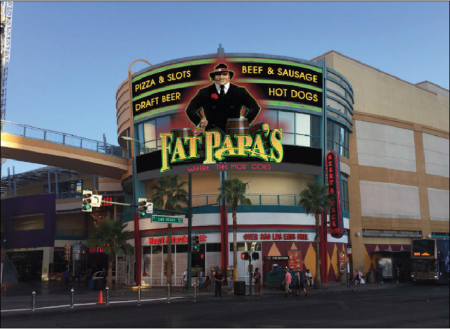 Rendering of the Italian restaurant, Fat Papa's, at the Neonopolis retail center. (Courtesy Photo)