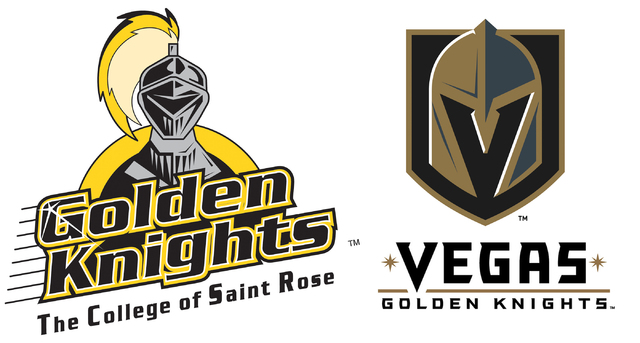 The greatest form of flattery? Logos for the College of St. Rose (left) and Vegas Golden Knights share a nickname and similar color scheme. Left image, courtesy of College of St. Rose.