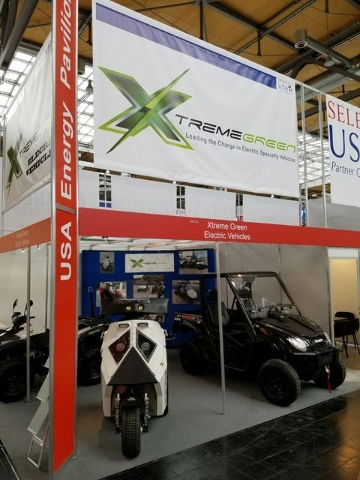 Xtreme Green Vehicle's boot at the Hannover Messe industrial technololgy trade fair in late April 2016. (Courtesy)