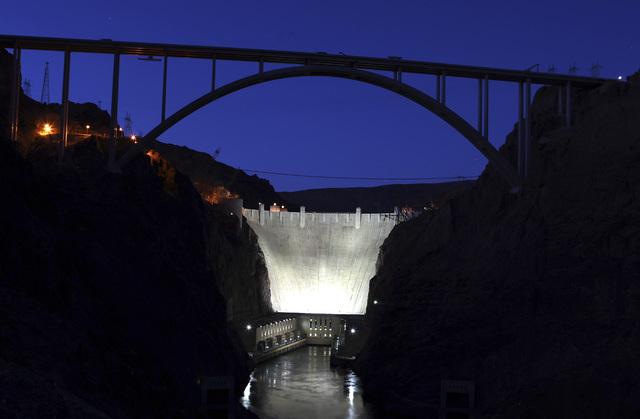 The U.S. Highway 93 Hoover Dam bypass bridge near Hoover Dam is shown at dusk on Thursday, August 5, 2010. (John Gurzinski/Las Vegas Review-Journal)