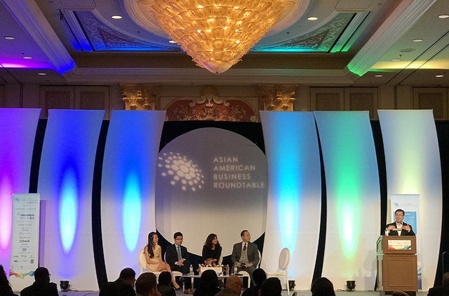 The Venetian hosted a panel discussion by CEO entrepreneurs (from left) Nanxi Liu, Tim Hwang, Andrea Guendelman and Chieh Huang during the Asian American Business Roundtable, Jan. 13. Photo by Buf ...