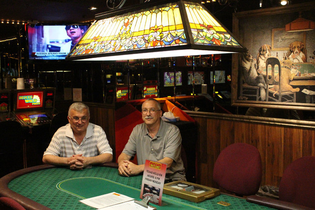 Sam Kiki, general manager at Skyline Casino (left) and Grant Givens, assistant general manager at Skyline Casino (right) at the poker table at Skyline on June 10, 2016. Jeffrey Meehan/Las Vegas Bu ...