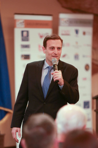 Nevada Attorney General Adam Laxalt speaks at the Henderson Chamber of Commerce's networking breakfast on March 8. (Courtesy Henderson Chamber of Commerce)