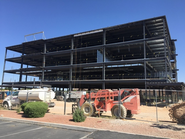 Construction is moving along on the medical office building that will house the medical residency programs at MountainView Hospital. (Courtesy)