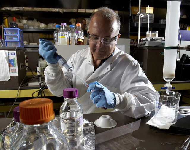 Photo courtesy of UNLV Innovation Magazine  UNLV biochemistry professor Ernesto Abel-Santos, who has recently started a business to commercialize his discovery of a possible way to prevent C. Diff ...