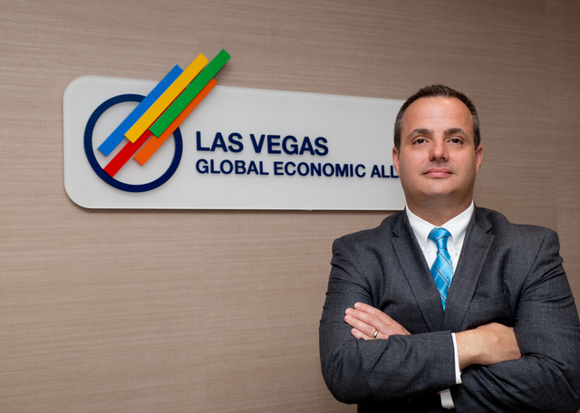 Tonya Harvey/ Special to Las Vegas Business Press Jared Smith, chief operating officer at the Las Vegas Global Economic Alliance, at the organization's headquarters Oct. 10.