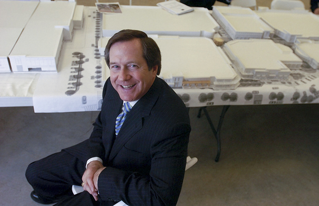 Jordan Schnitzer of Harsch Investment Properties sits with a model of the Towne Center project in Alameda, Calif.      (Courtesy Harsch. Photo by Gregory Urquiaga/Contra Costa Times)