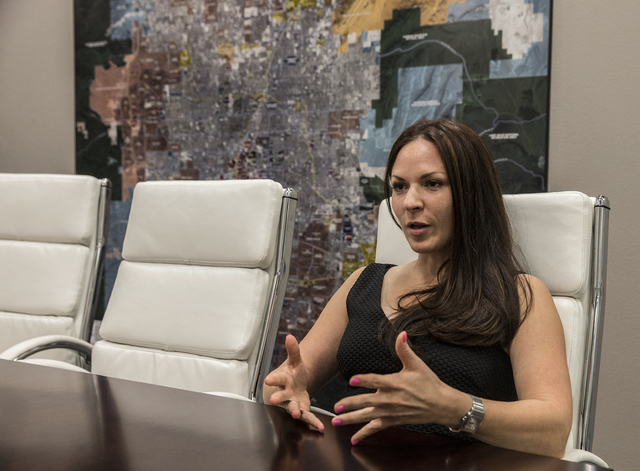 Jennifer Ott, president of Commercial Alliance Las Vegas, answers questions at ROI Commercial Real Estate on Thursday, Oct. 27, 2016, in Las Vegas. (Benjamin Hager/Las Vegas Business Press)