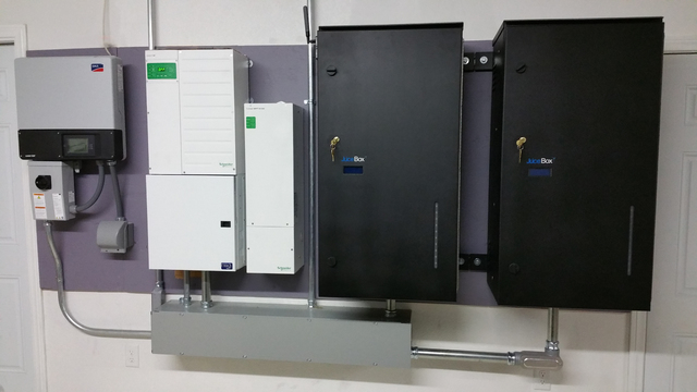 The Juice Box Energy installation fits into the residential utility cluster and offers energy storage for peak load shifting and off-the-grid reliance. (Courtesy Juice Box Energy)
