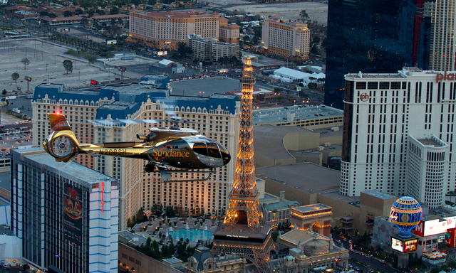 Las Vegas offers many corporate holiday party options, including events that feature helicopter tours over the Strip. Photo courtesy of Sundance Helicopters.