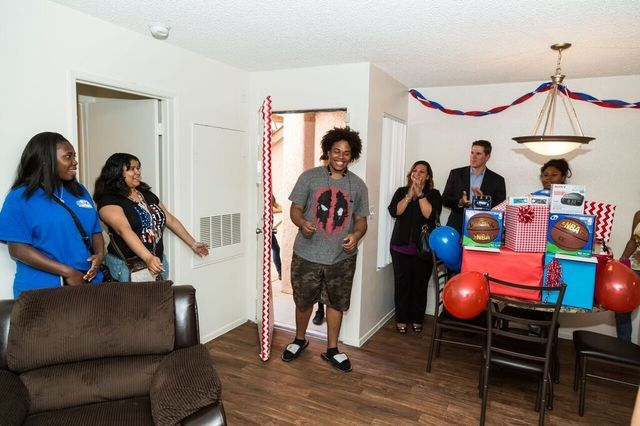 Former foster teens receive keys to apartments at Olive Crest's Project Independence facility. (Courtesy)