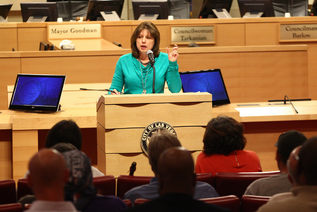 Karen Duddlesten, deputy director of Las Vegas' Department of Planning Licensing and Enforcement, speaks during a 2014 meeting on zoning and licensing procedures for people interested in dispensin ...