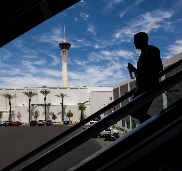 A man takes the escalator down from the SLS hotel-casino Las Vegas Monorail station on Thursday, July 9, 2015. (Chase Stevens/Las Vegas Review-Journal) Follow Chase Stevens on Twitter @csstevensphoto