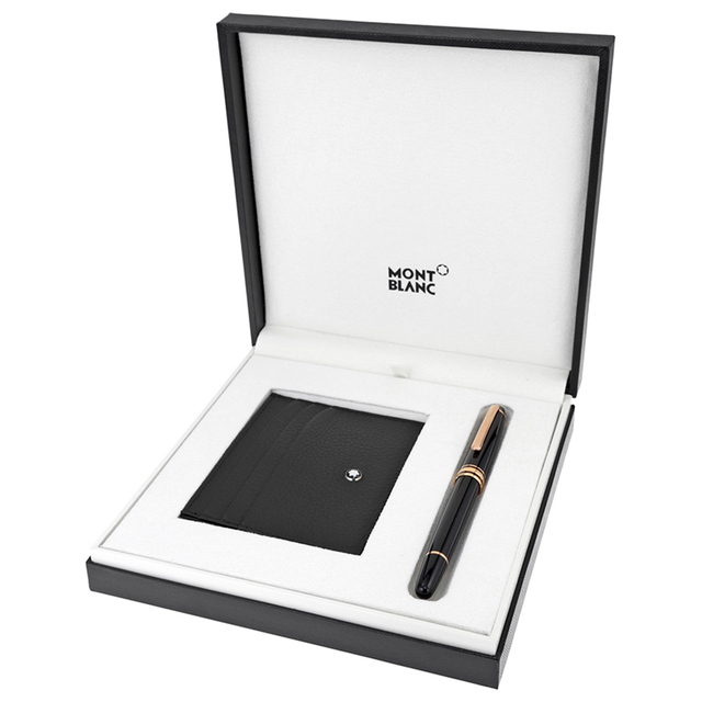 Meisterstük red gold classique rollerball with black soft-grain pocket holder, $485; available at Montblanc in The Forum Shops at Caesars and The Palazzo