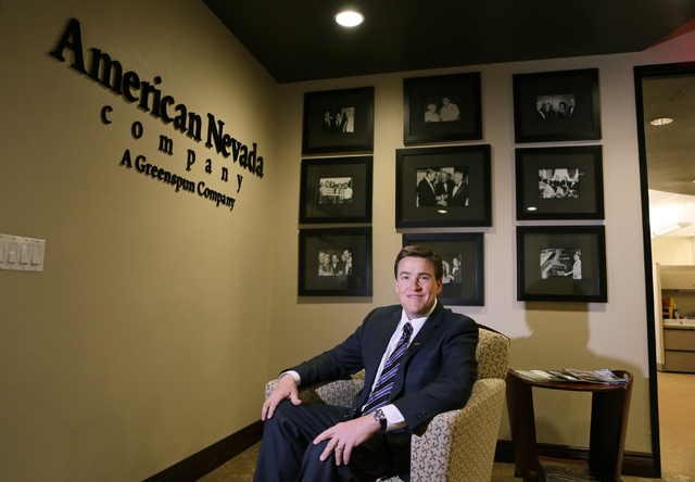 Charles Van Geel, vice president of commercial leasing and sales at American Nevada Company, sits in the reception area at American Nevada Co. Friday, March 27, 2015, in Henderson. American Nevada ...
