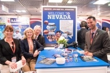 The Nevada team sets up shop in the U.S. Pavilion at the MIPIM show in Cannes, France. (Courtesy GLVAR)