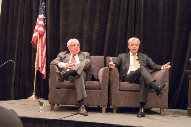 Randy Black Sr. (left), and Terry Wright (center) at the 11th annual CALV Symposium on Sept. 28 at the Gold Coast hotel-casino. (Courtesy)