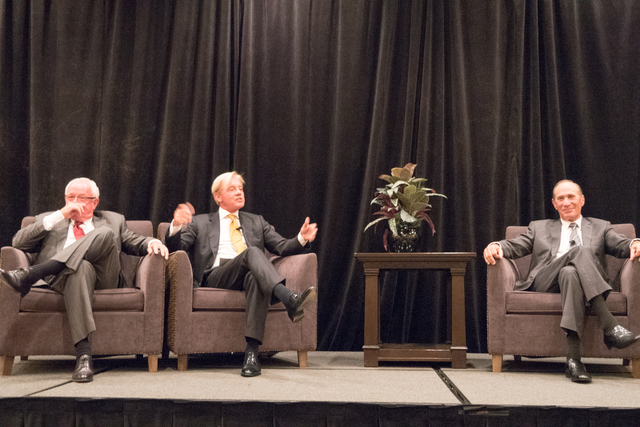 Randy Black Sr. (left), and Terry Wright (center) and moderator Woody Rossum (right) at the 11th annual CALV Symposium on Sept. 28 at the Gold Coast hotel-casino. (Courtesy)