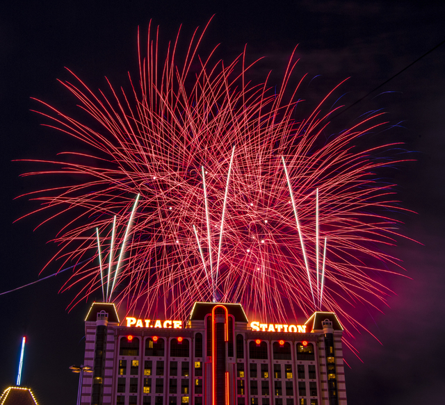 Fireworks explode over Palace Station hotel-casino in Las Vegas during their 40th Anniversary Celebration on Friday, July 1, 2016. Joshua Dahl/Las Vegas Review-Journal