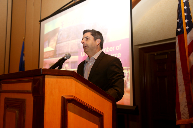 Rick Arpin, senior vice president of entertainment at MGM Resorts International, speaks about the new T-Mobile Arena  during the Urban Chamber of Commerce's networking luncheon on Feb., 26. (Court ...
