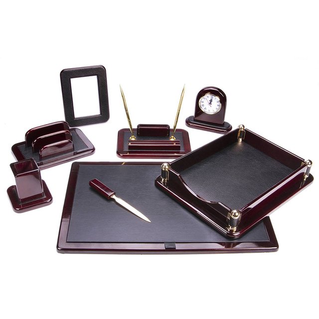 Majestic Goods nine-piece burgundy oak wood desk set, $281.97; available from Sears