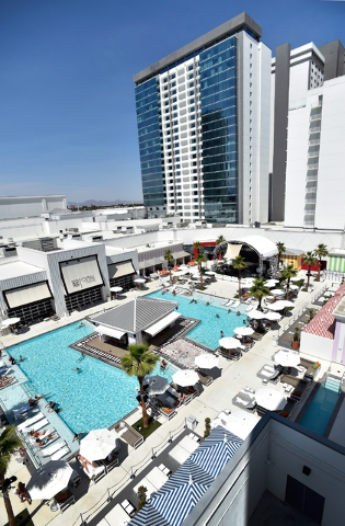 The pool area at the SLS hotel-casino is seen on Tuesday, June 23, 2015, in Las Vegas. According to an SEC filing, the hotel-casino lost $35.3 million in the first quarter of this year. (David Bec ...