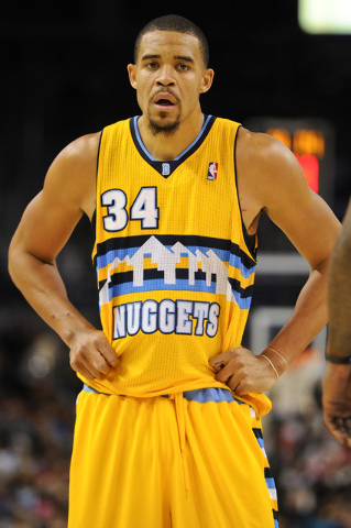 Denver Nuggets center JaVale McGee (34) looks on during an NBA preseason basketball game against the Los Angeles Clippers at Mandalay Bay in Las Vegas Saturday, Oct. 19, 2013. (David Cleveland/Las ...