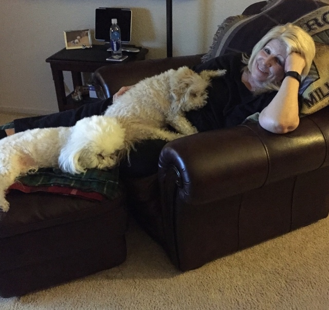 Sue Kwasneski at home with the dogs.