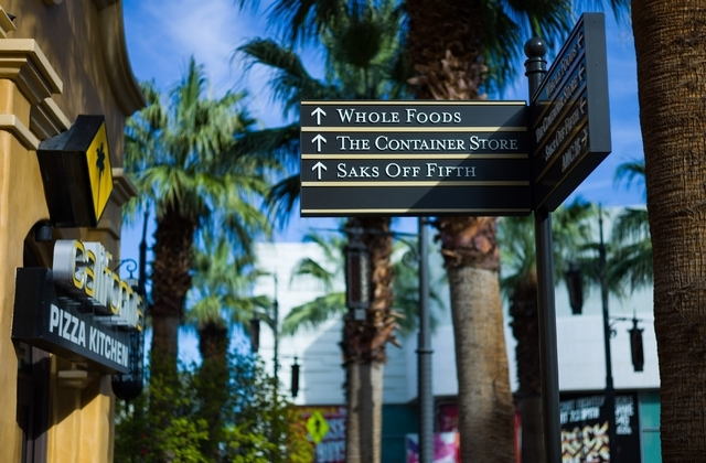 Signs point the way to shops at Town Square in Las Vegas. Chase Stevens/Las Vegas Review-Journal Follow @csstevensphoto
