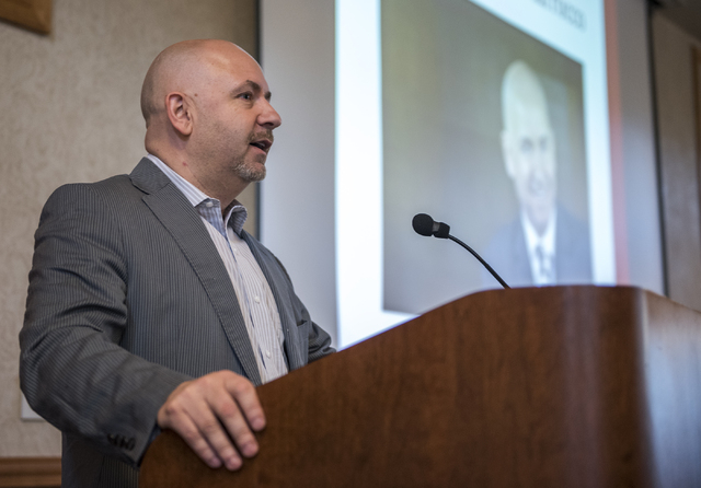 Dominic Anthony Marrocco speaks to the crowd during the 8th annual Dominic Anthony Marrocco Southern Nevada Business Plan Competition from the Foundations Building inside the UNLV campus in Las Ve ...