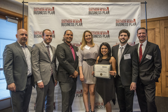 Dominic Anthony Marrocco, left, is seen posing with competition team BzBee during the 8th annual Dominic Anthony Marrocco Southern Nevada Business Plan Competition from the Foundations Building in ...