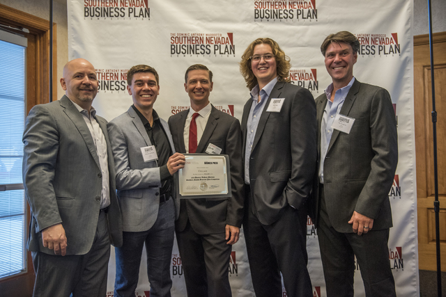Dominic Anthony Marrocco, left, is seen posing with competition team Collage during the 8th annual Dominic Anthony Marrocco Southern Nevada Business Plan Competition from the Foundations Building  ...