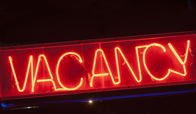 red neon vacancy sign for motel.