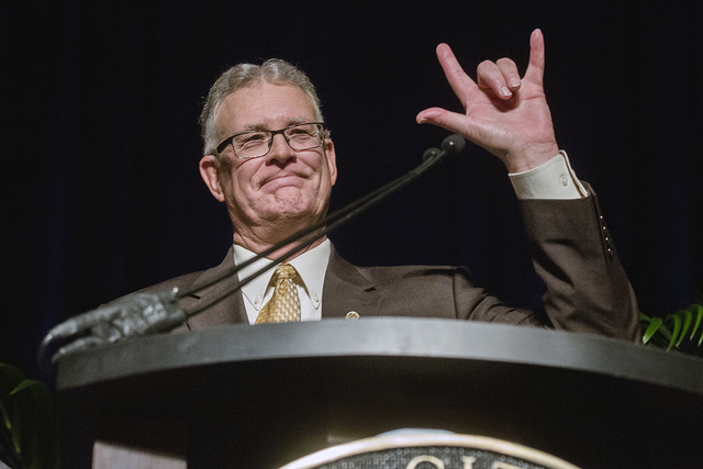 Henderson Mayor Andy Hafen waves at the crowd after giving his final State of the City address at Green Valley Ranch on Thursday, Jan. 19, 2017. (Jeff Scheid/Las Vegas Review-Journal) Follow @jeff ...