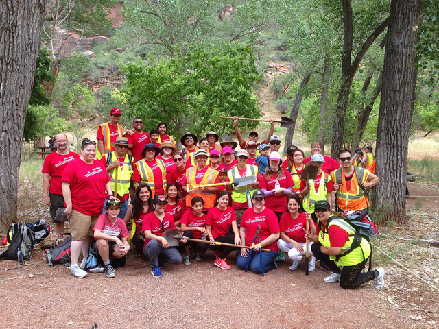More than 40 Wells Fargo team members, family and friends from Southern Utah and Southern Nevada came together to volunteer at Zion National Park in honor of the National Park Centennial. The volu ...