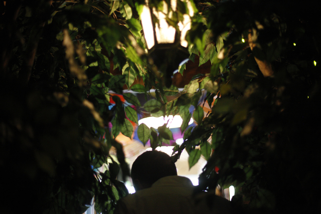 Owner Scott Seeley walks through the decorated passageway inside the Writer's Block in downtown Las Vegas on Tuesday, June 7, 2016. Rachel Aston/Las Vegas Review-Journal Follow @rookie__rae